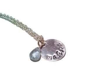 Personalized mother/child necklace birthstone sterling silver