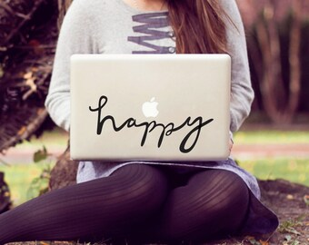 happy large laptop decal