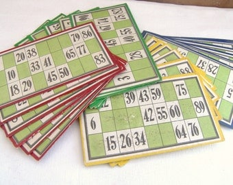Six Antique French Loto Cards, Bingo Cards,  Vintage French Card Loto, French Game Cards,Loto Cards