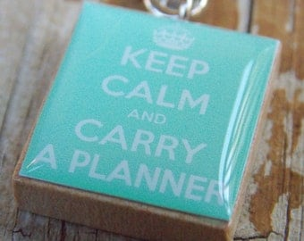 Keep Calm And Carry A Planner Scrabble Tile Pendant In Mint Green