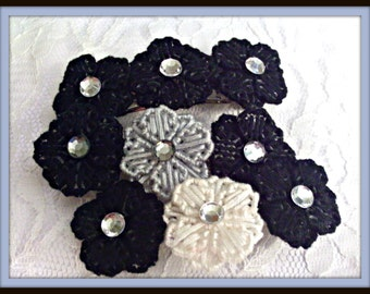 Gray And  Black Flower Barrette Or  choose Black And White