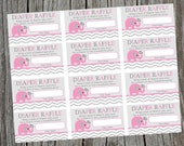 Instant Download Printable Diaper Raffle Tickets.  Pink Elephant and Chevron Diaper Raffle Ticket.  Baby Shower Raffle Tickets.