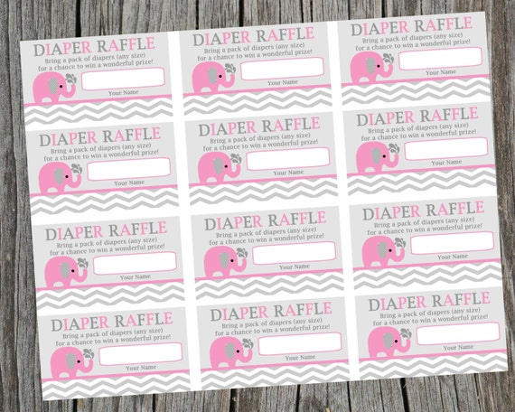 Diaper Raffle Tickets. Pink Elephant and Chevron Diaper Raffle ...