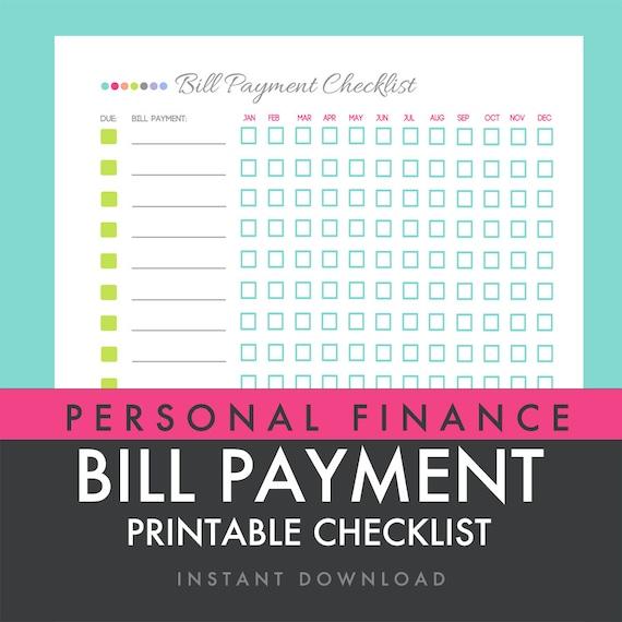 similar to Bill Payment Checklist - Printable PDF - Custom Organizer ...