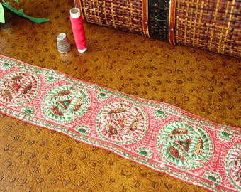 Embroidered Sari Border, Red and Green Paisley Sequined Silk Ribbon, Indian Saree Sewing Trim, Christmas Ribbon