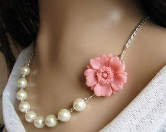 Chrysanthemum  pearl necklace, bridal, bridesmaids necklace, wedding jewelry - F004  (Choose your pearl colour)