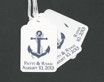100 Navy Anchor -Personalized -Wedding or Favor tags-Shower or Gift tags-Hang Tags