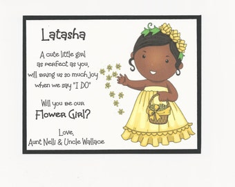 LATASHA - Will you be my Flower Girl Flat card - Personalized custom - Dark Skin