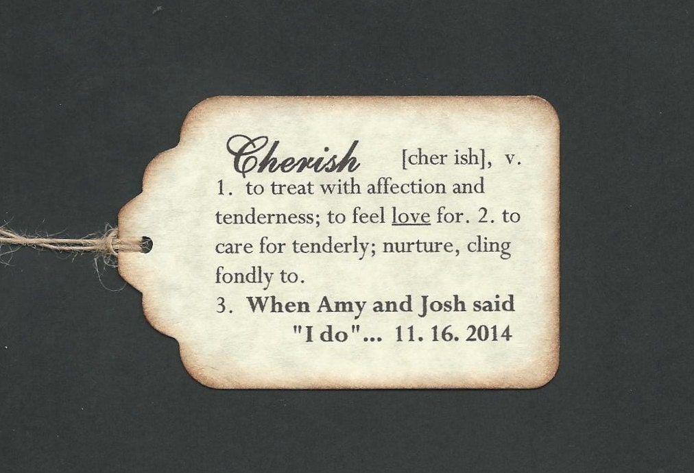 100 DEFINITION Of CHERISH Hang Tags PERSONALIZED Wedding