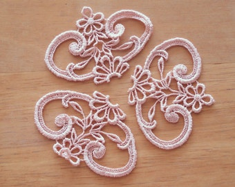 Venice Lace Appliqués In Pink Color.