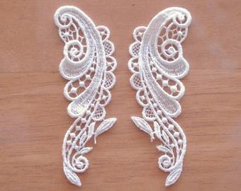 Venice Lace Embroidery Appliqués White Color Pair.