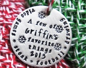 Personalized Christmas Ornament Child's Keepsake Name Year Favorite Things Memories
