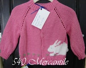Pink Bunny Sweater Size 6 to 12 Months Hand Knitted Acrylic Yarn