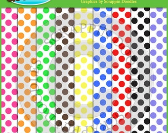 Colored Polka Dots on White Backgrounds