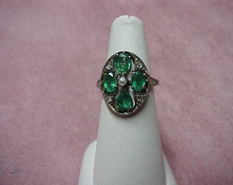 Antique Colombian Emeralds Ring, 4.60 Carat with Rosecut Diamonds. 14K Yellow Gold, Size 6