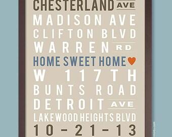 Home Sweet Home Print, Custom Subway Print, Subway Art Poster (Street Names, Favorite Cities, Memorable Dates) custom colors
