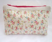Ivory and Pink Flowers Cotton and Linen Makeup Bag