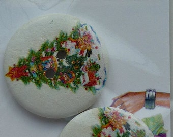 """D4 Buttons - Christmas Buttons 2 x Christmas Tree (White)  3cms (1.25"""")"""