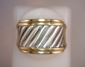 Sterling Silver and 14K Gold Ring, David Yurman Cable Design, Authentic, Vintage Movie Star Memorabilia, 8.8 DWT, Size 7 1/4