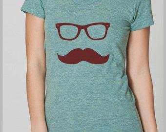 Women's Mustache Wayfarer T Shirt American Apparel Tee S, M, L, XL 8 Colors