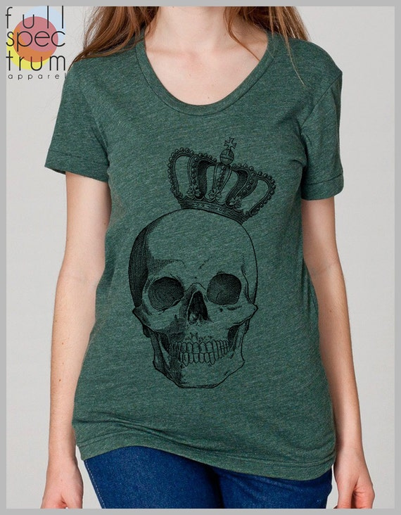 Royal Skull Punk Geek Hipster American Apparel Women's Tshirt   S, M, L, XL 8 Colors 80s 90s clothing