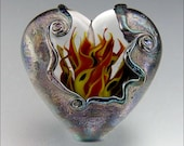 Heart's on Fire - MADE TO ORDER - Handmade Lampwork Heart Pendant Bead - by Stephanie Gough sra fhfteam leteam