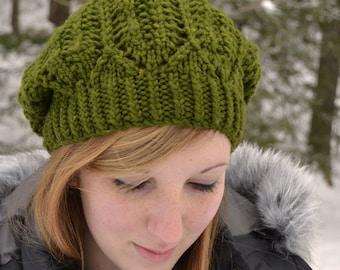 Hat Knitting PATTERN PDF, Knitted Beret Pattern, Slouch Hat Knitting Pattern - Hemlock Ridge