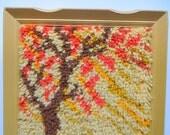 Vintage Sunset Hooked Yarn Framed Art 1970s