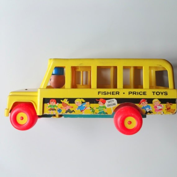 vintage fisher price school bus toy 1965. Black Bedroom Furniture Sets. Home Design Ideas