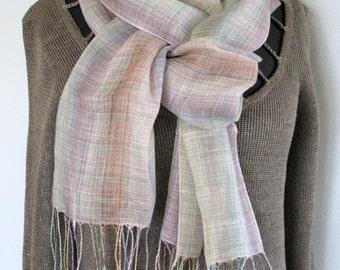Linen Shawl Scarf Blue Azure Gray Brown Violet Green Striped