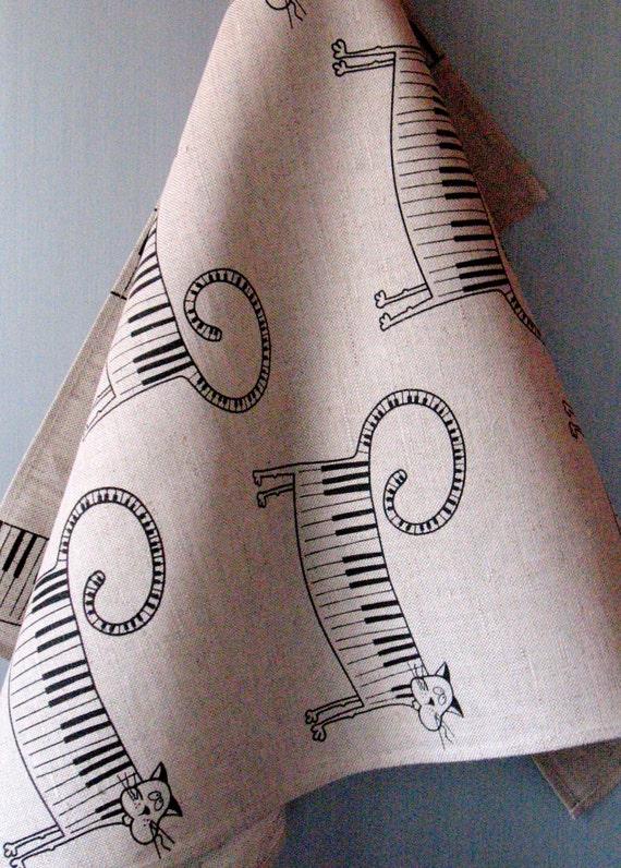 Linen Cotton Dish Towels Music Piano Cat Black Tea Towels set of 2