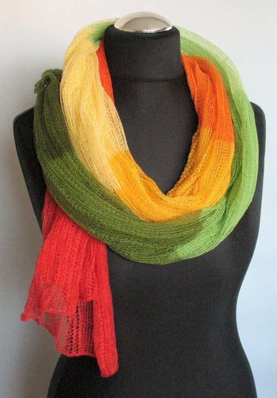 Linen Scarf Shawl Wrap Stole Green Salad Yellow Orange Red Multicolored, Light, Transparent