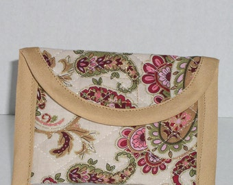 Business Card Case -  Cream Paisley Print
