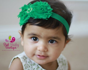 St Patricks Day Green Baby Headband - Baby Girl Headband - Infant Headbands - Baby Hair Accessories - Baby hairbow s- Couture Headband