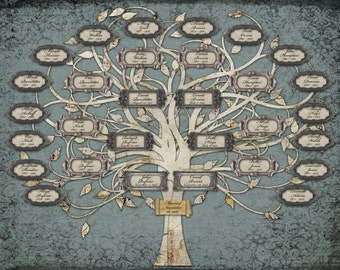 Family Tree For a Wedding or Anniversary - Custom with 30 Labels - Blue Grey