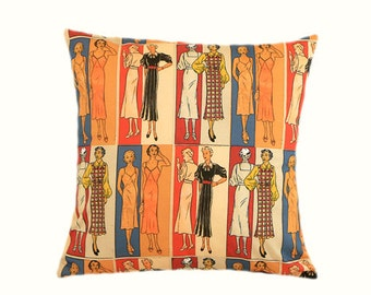 """Decorative Pillow case, Multicolored Cotton Retro Fashion patterned fabric Throw pillow case, fits 18"""" x 18"""" insert, Home Decor"""