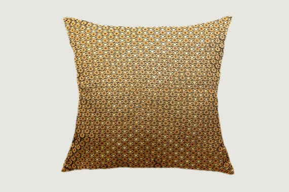 Throw Pillow Cover Fabric : Decorative Gold lace fabric Throw pillow cover fits 18