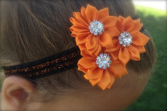 SPARKLE HEADBAND, Black and Orange Stripes with 3 Orange flowers with rhinestones