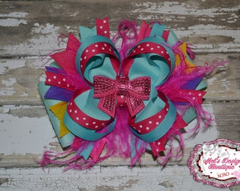 Boutique hair bow , OTT layered hair bow, large girls hair bow, hair clip, girls hair bow, stacked hair bow