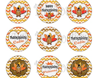 Thanksgiving Princess - 1 inch image sheets for bottle caps - perfect for Thanksgiving