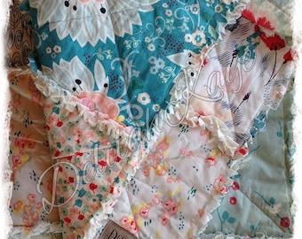 Queen Rag Quilt - Subtle Joy Rapture Pat Bravo - Aqua Coral  - Handmade Modern Bedding