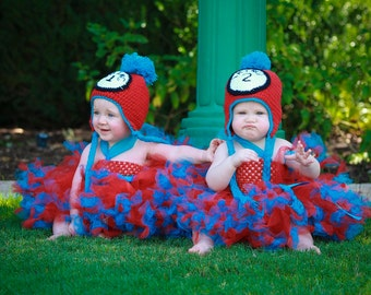 LiKe SHowN Baby Toddler All 6 PIECES! Thing One and Thing Two Handmade Crochet Hat and Tutu Dress Halloween Costume Sets  You Choose Size