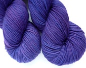 Hand Dyed Superwash Merino Sport Weight Yarn in Deep Amethyst Colorway