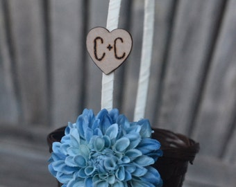 Personalized  Small Flower Girl Basket You Pick Flower and Ribbon featuring something blue