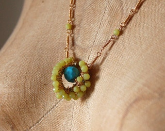 Turquoise and Yellow Jade Link Chain Pendant