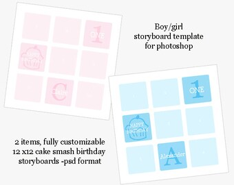 Cake Smash or First Birthday Storyboard photoshop template, 12x12 (2 psd files)