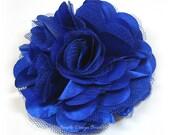 "Royal Blue Flower Hair Clip or Brooch - 3"" OLIVIA FLOWER - Royal Blue Hair Flower - Satin Hair Flower - Royal Blue Flower Clip"