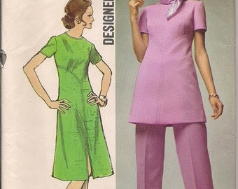 1971 Sewing Pattern Simplicity 9358 misses dress, tunic, pants size 8 bust 31.5