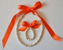 Burned orange flower girl jewelry set adjustable necklace and stretchy bracelet with swarovski crystal balls wedding jewelry  flower girl