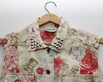 DIY'd grunge floral studded cropped vest